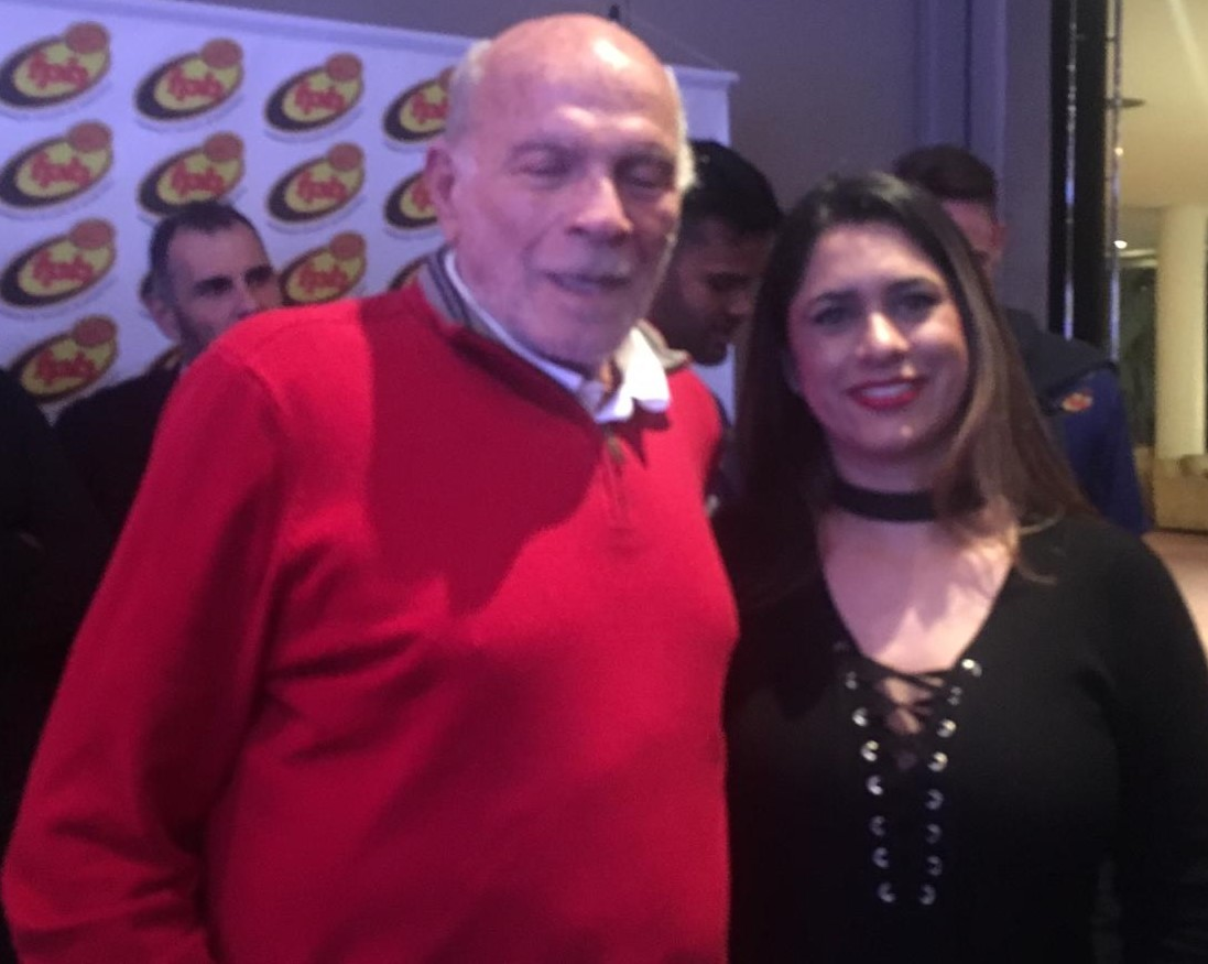 O 'padrinho' do Campeonato Paulista, Amaury Pasos, e Priscila Dorigo / Foto: Kiko Ross/ASE