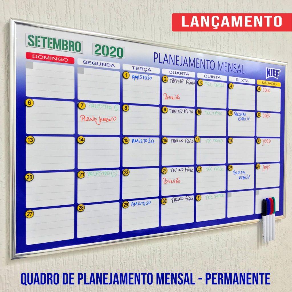 Lançamento Kief: quadro de planejamento mensal permanente